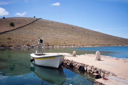 adriatic: Wooden fishing boat in Adriatic sea, Croatia Stock Photo