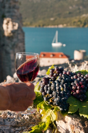 A glass of wine in female hand and grapes on the stone