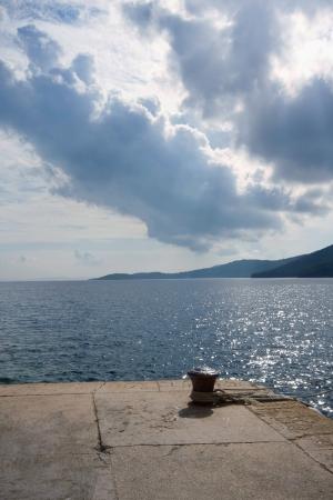 Bollard on island Dugi otok, Croatia Stock Photo