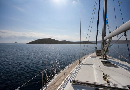 Sailing towards the island