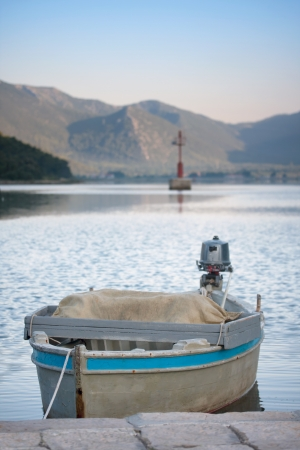 View of Old wooden boat on the Croatian coast Stock Photo
