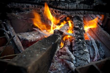 closeup of camping fire