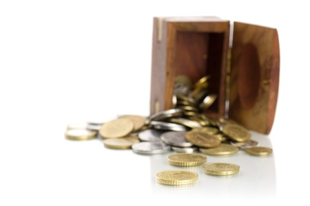 coins and caskets isolated on white background
