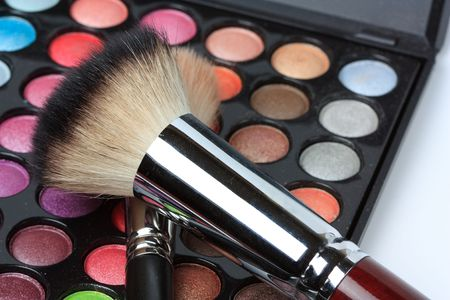 Makeup pallete with two brushes