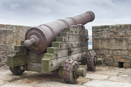 An ancient cannon in a medieval fortress