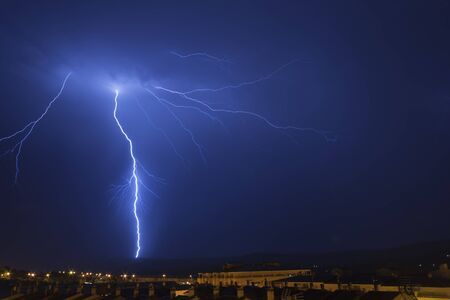 An image of Lightning in the night in Plasencia, Extremadura, Spain.