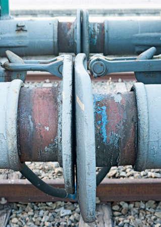 railway coupling hook on train - old steel hook. Spain.
