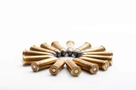 Several bullets of the 38 caliber special for a handgun or revolver 免版税图像