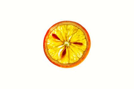 Macro detail of a slice of a fresh orange on white background.Food.