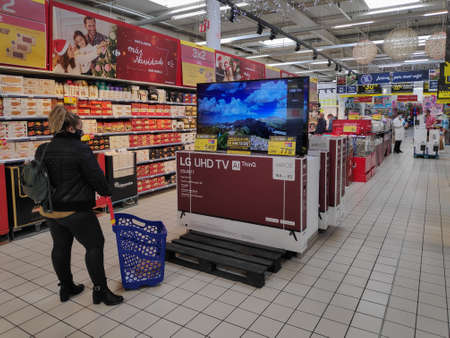 The fish market area for direct sale to the public in the Carrefour Shopping Center. Supermarket