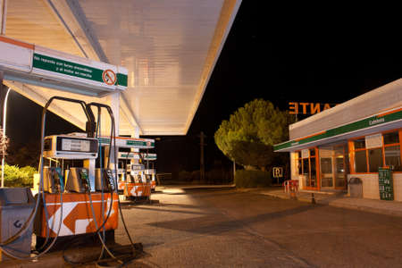 EL BATAN, SPAIN - June 25, 2011: gasoline pumps in a gas station at night