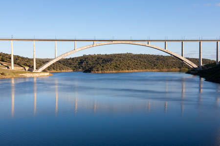 Viaduct or bridge of the AVE high-speed train over the Almonte river in Caceres, Extremadura. Madrid - Extremadura line. Adif High Speed
