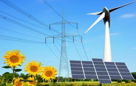 elektriciteit: hernieuwbare energiebronnen Stockfoto
