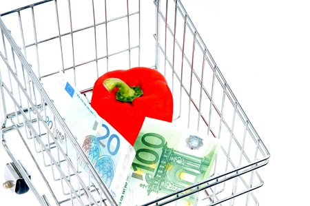 household money: shopping cart with vegetables