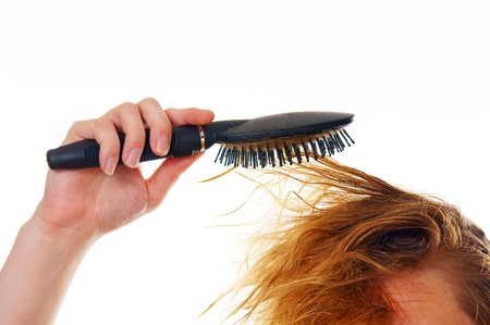 hairbrush: woman with hairbrush