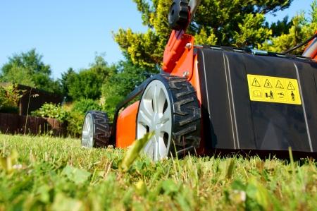 cut grass: lawn mower