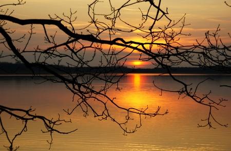woods lake: tramonto sull'acqua Archivio Fotografico