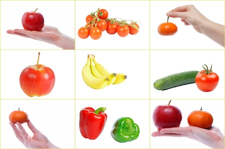 Collage of Fruit and Vegetables photo