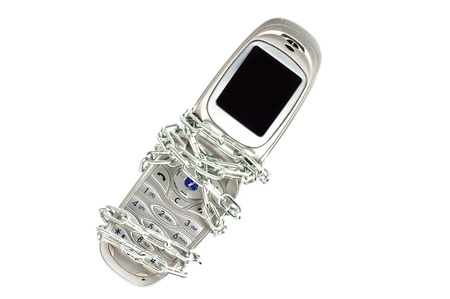 Mobile Phone with a chain Stock Photo - 12053391