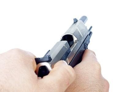argumentative: Hand with a Gun Stock Photo