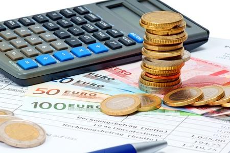 Geld en Calculater Stockfoto