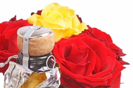 jahreswechsel: Rose e bottiglia di champagne Archivio Fotografico