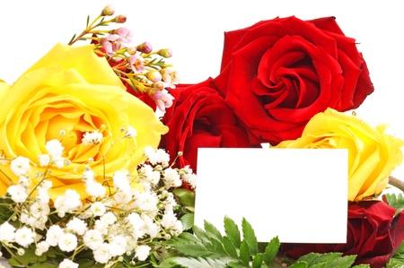 roses with empty text box Stock fotó