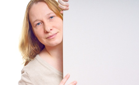 Young woman with a billboard  photo
