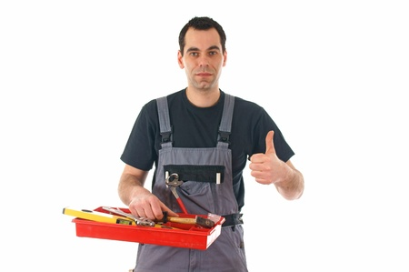 Craftsman with tools and thumb up Stock Photo - 12673714