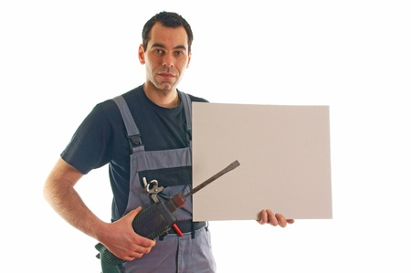Craftsman with drill and billboard