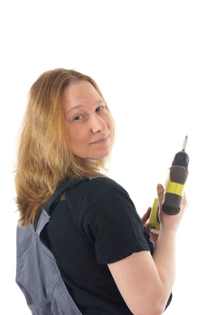 Woman with battery drill Stock Photo - 12673757
