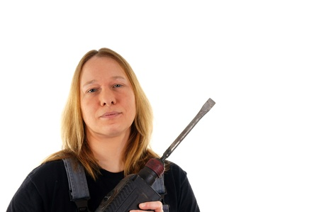 craftswoman: Craftswoman with a drill Stock Photo