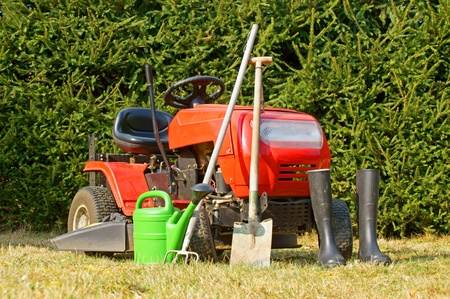 Garden tools and lawn mower photo