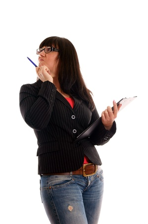 self awareness: Business Lady with writing pad
