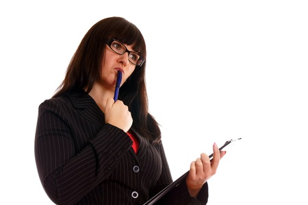 Business Lady with writing pad Stock Photo - 12960140