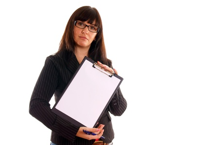 Business Lady with writing pad photo