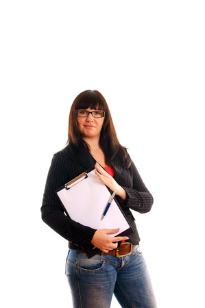 Business Lady with writing pad Stock Photo - 12960159