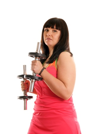 sporty girl trained with hantels Stock Photo - 12965564