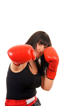 athletic girl with boxing gloves photo