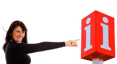 Woman pointing to an information icon photo