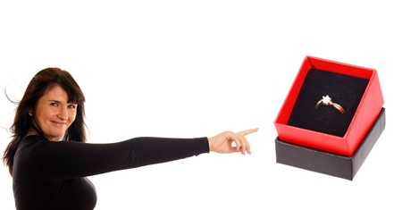 gaily: Woman pointing to a box with a ring
