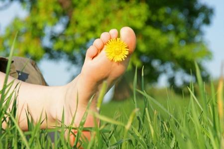 voeten in het groene gras met bloem Stockfoto