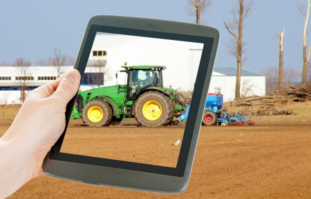 tablet pc and agriculture Stock Photo