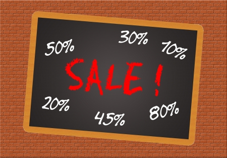 lowered: blackboard with the text - Sale