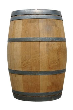bodegas: barril de madera sobre un fondo blanco Foto de archivo