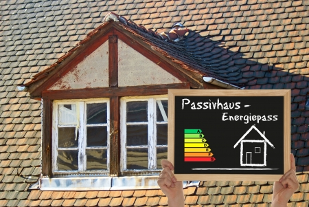 old house with blackboard passive House photo