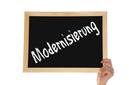 modernization: blackboard with the german word modernization