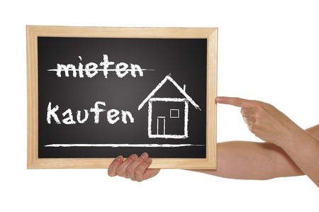 blackboard with the german words rent and buy photo