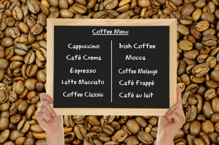 blackboard - different types of coffee Stock Photo - 14041323