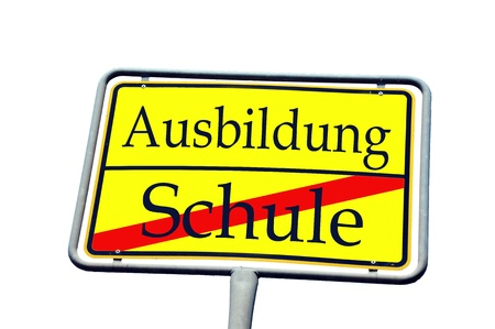 sign with the german words training school and school Stock Photo - 14090089